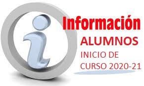 Información alumnos inicio de curso 2020-21